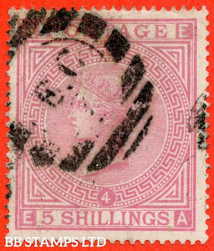 "SG. 134. J123 a. "" EA "" 5/- Rose. Plate 4. A good - fine used example."