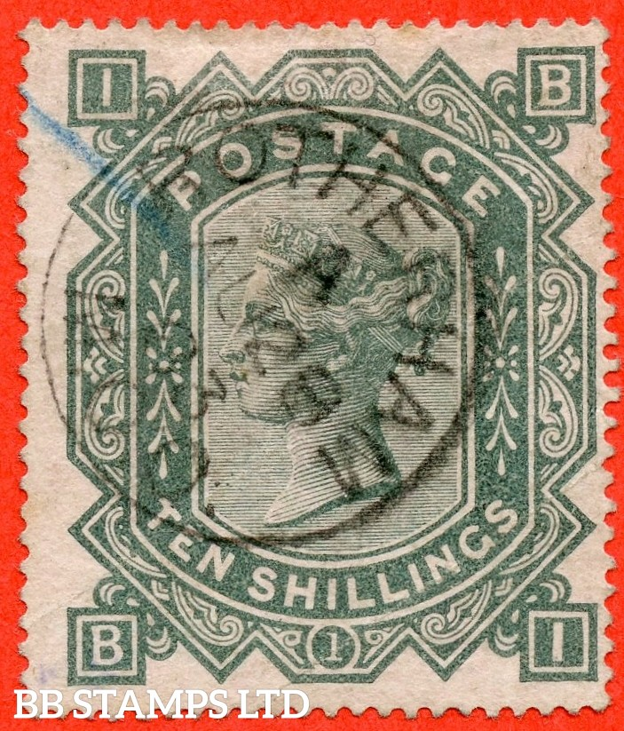 "SG. 128. J124. "" BI "". 10/- greenish grey. A fine "" 28th August 1883 ROTHERHAM "" CDS used example."