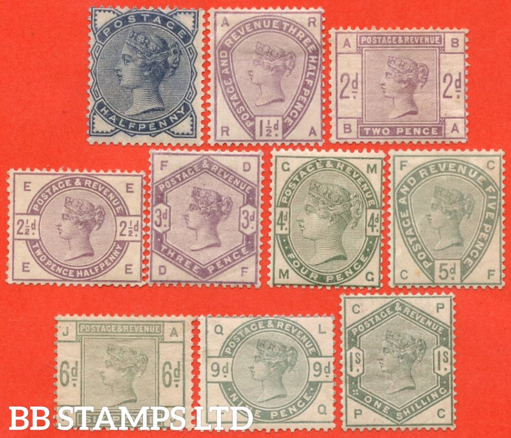 """SG. 187 - 196. K17A - K26. ½d - 1/-. """" Lilac and Green. A very fine lightly mounted mint complete set of 10. A difficult set these days."""
