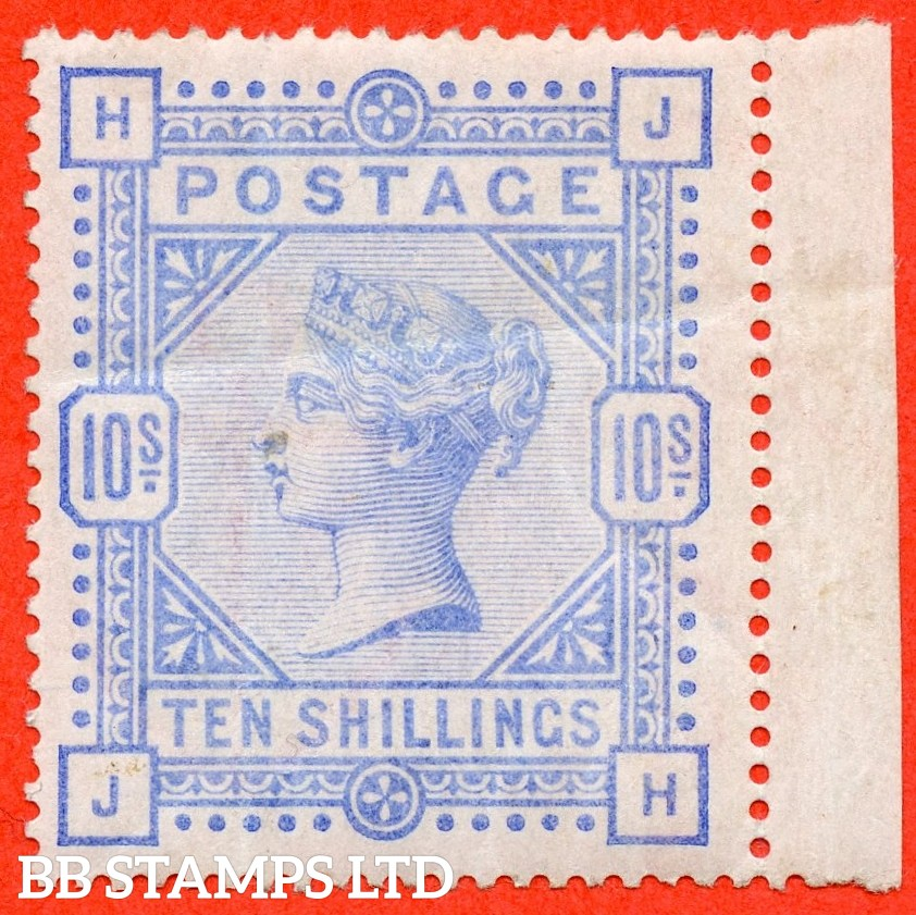 """SG. 183a. K14 (3). """" JH """". 10/- Pale ultramarine.  An average mint ( creases ) example of this more difficult shade."""