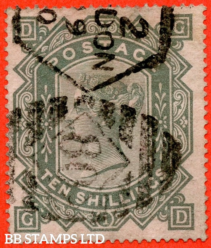 "SG. 128. J124. "" GD "". 10/- Greenish grey. A fine used example of this early Victorian high value."