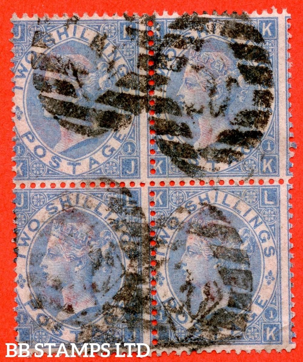 "SG. 120. J118 (3). "" KJ KK LJ LK "". 2/- pale blue. Plate 1. A good used block of 4. A scarce multiple."