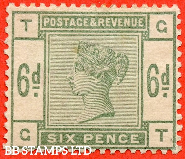 """SG. 194. K24. """" GT """" 6d Dull green. A mounted mint example."""