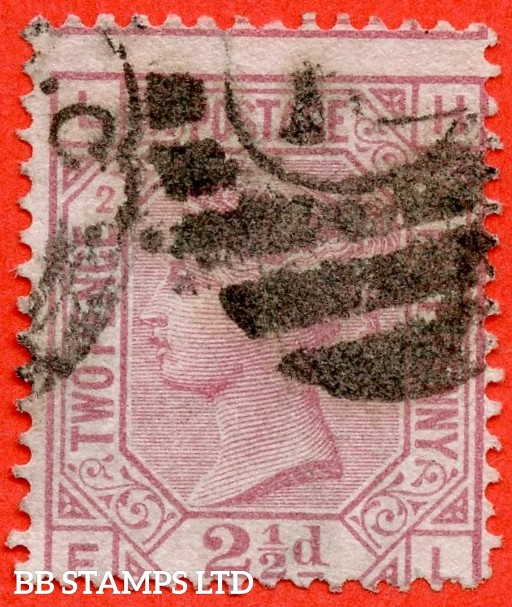 "SG. 140. J2 b. "" LH -- FL "". 2½d rosy mauve. Plate 2. "" ERROR OF LETTERING "". A good used example of this RARE Victorian variety."
