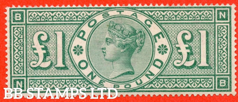 """SG. 212. K17. £1.00 Green """" NB """". A Super UNMOUNTED MINT example of this popular stamp."""