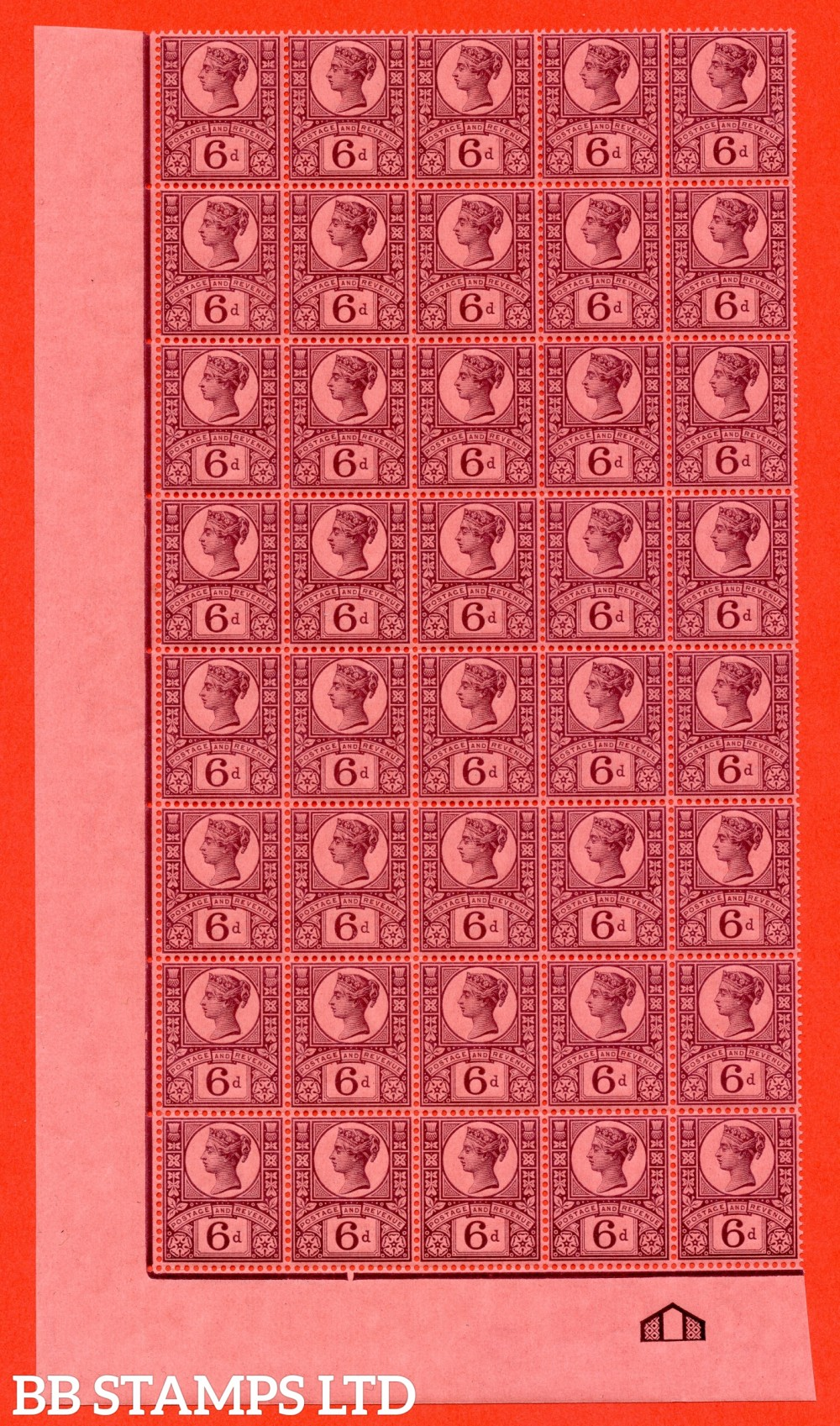 SG. 208a. K37 (2) .  6d deep purple on rose- red paper. A very fine UNMOUNTED MINT bottom left hand corner marginal block of 40 with full centre ornament.