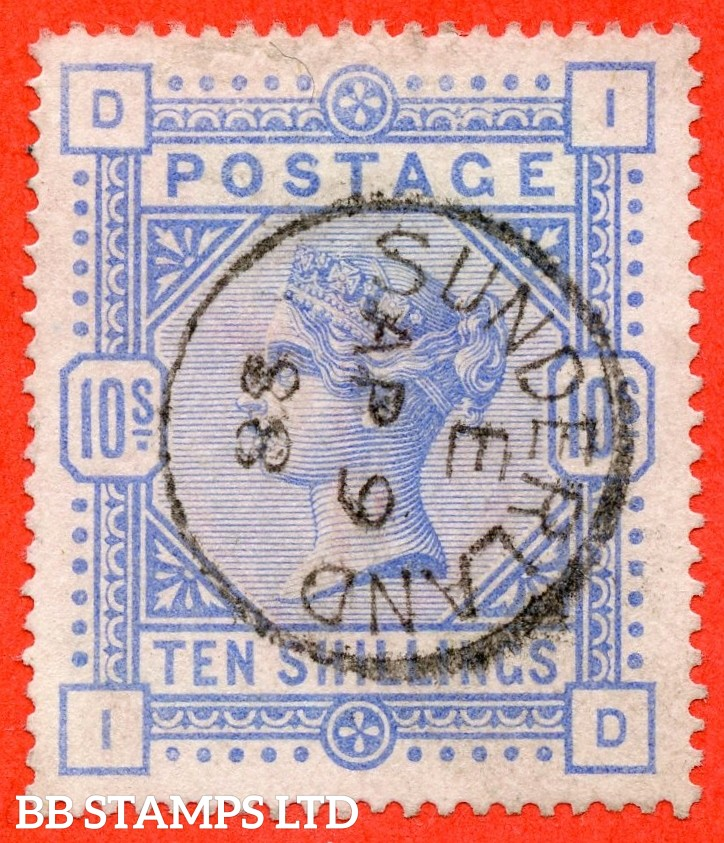 "SG. 183a. K14 (3). "" ID "". 10/- Pale ultramarine. A very fine "" 9th April 1888 SUNDERLAND "" CDS used example."