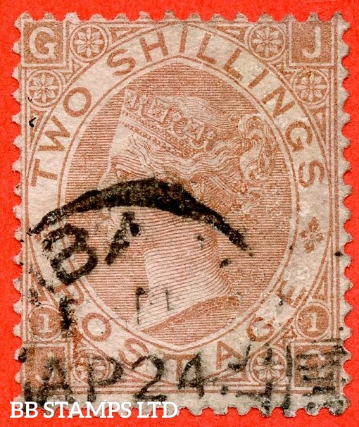 "SG. 121. J120. "" JG "". 2/- Brown. A fine part "" 24th April "" CDS  used example of this scarce Victorian issue."