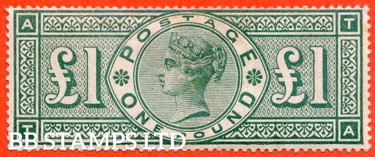 """SG. 212 a. K17 a. £1.00 Green """" TA """". FRAME BREAK. A fine mounted mint example of this RARE mint Victorian high value variety."""
