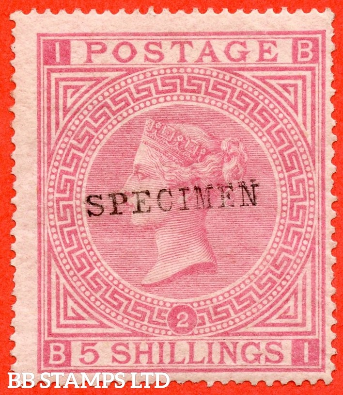 "SG. 127 s. J121 (2) s. "" BI "". 5/- Pale rose. Plate 2. A fine mounted mint example overprinted SPECIMEN type 9."