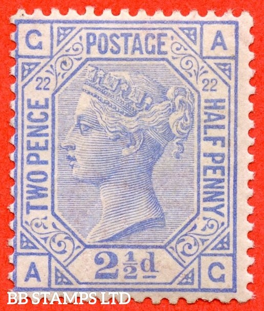 "SG. 157. J24. "" AG "". 2½d blue. Plate 22. A super UNMOUNTED MINT example."