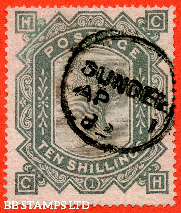 """SG. 128. J124. """" CH """". 10/- greenish grey. A fine """" 1st April 1883 DUNDEE """" CDS used example."""