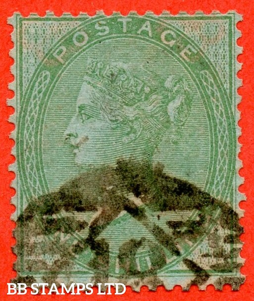"""SG. 72 a. 1/- green. """" AZURE PAPER """". A good - fine used example of this RARE paper variety."""
