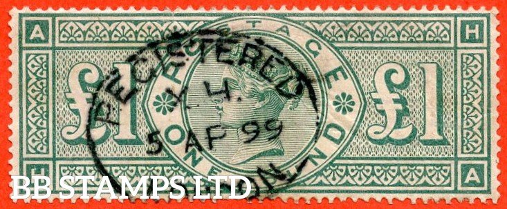 """SG. 212. K17. £1.00 Green """" HA """". A fine """" 5th April 1899 LONDON """" used example."""