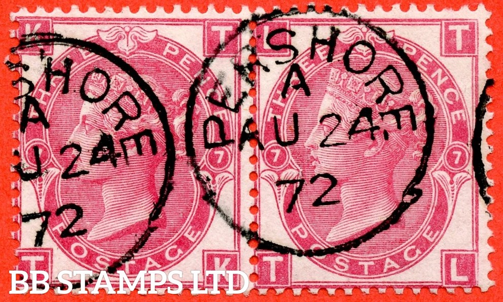 """SG. 102. J33. """" TK TL """" 3d Deep Rose. Plate 7. A fine """" 24th August 1872 PERSHORE """" CDS used horizontal pair."""