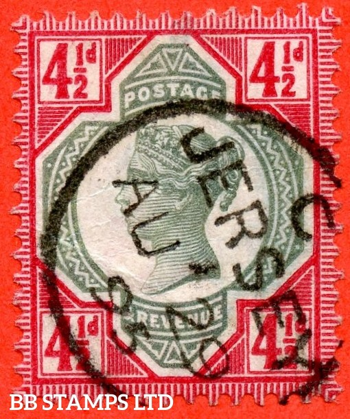 "SG. 206a. K34 (3). 4½d green & deep bright carmine. A very fine "" 29th August 1895 JERSEY "" CDS used example."