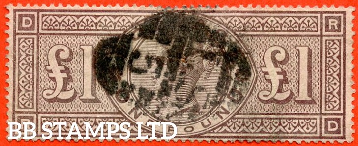 """SG. 185. K15. """" RD """". £1.00 Brown - Lilac. A good used example of this popular Victorian high value."""