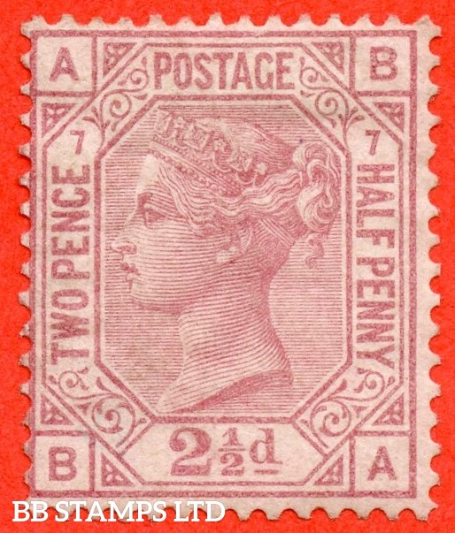 "SG. 141. J7. "" BA "". 2½d rosy mauve. Plate 7. A fine mounted mint example."