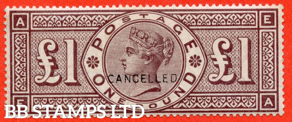 """SG. 185. K15 u. """" EA """". £1.00 brown - lilac. A superb very lightly mounted mint example overprinted CANCELLED type 14. A RARE stamp in any grade."""