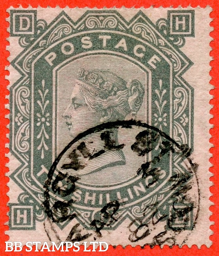 "SG. 128. J124. "" HD "". 10/- greenish grey. A very fine "" 3rd April 1882 ARGYLL STREET "" CDS used example."