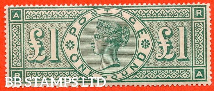 """SG. 212. K17. £1.00 Green """" RA """". A superb UNMOUNTED MINT example."""