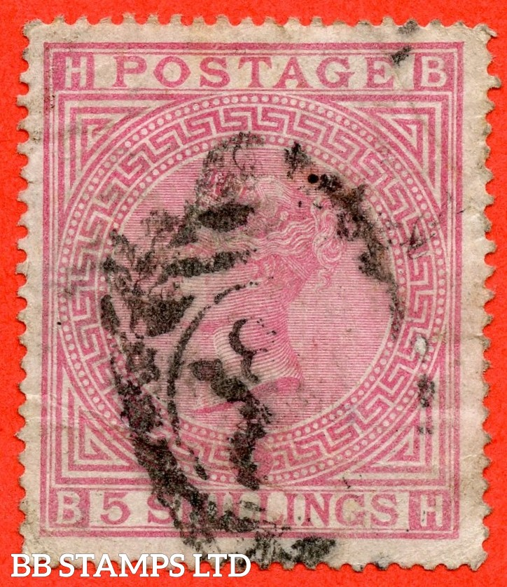 "SG. 130. J123. "" BH "" 5/- Rose. "" blued paper "". A used example with faults but a good looking spacefiller."