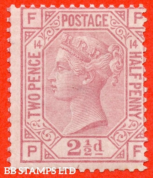 """SG. 141. J15. """" PF """". 2½d rosy mauve. Plate 14. A fine UNMOUNTED MINT example."""