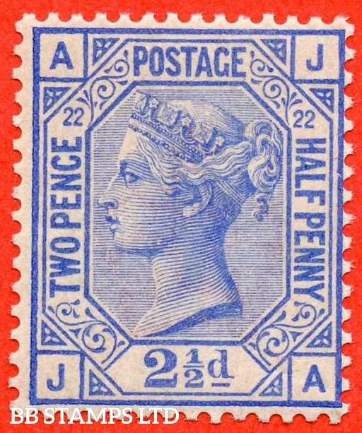 "SG. 157. J24. "" JA "". 2½d blue. Plate 22. A super UNMOUNTED MINT example."