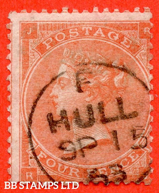 """SG. 80. J52 (2). """" RJ """". 4d pale red. A very fine """" 15th September 1863 HULL """" CDS used example."""