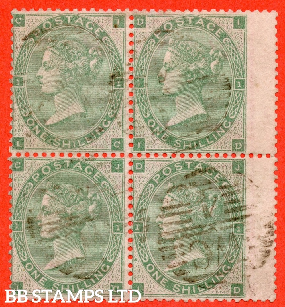 "SG. 90. J101 (2). "" IC ID JC JD "". 1/- Green. A very fine used block of 4. A very scarce multiple."