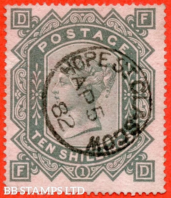 "SG. 128. J124. "" FD "". 10/- greenish grey. A very fine "" 5th April 1882 GLASGOW "" CDS used example."