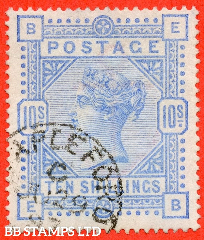 "SG. 183a. K14 (3). "" EB "". 10/- Pale ultramarine. A very fine "" 29th June 1887 APPLEFORD "" CDS used example with a lovely clear profile."