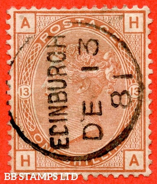 "SG. 163. J116. "" HA "".1/- orange - brown plate 13. A very fine "" 13th December 1881 EDINBURGH "" CDS used example."