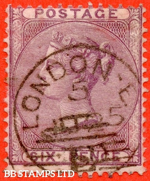 "SG. 69. J70 (1). 6d deep lilac. A fine "" LONDON "" CDS used example."