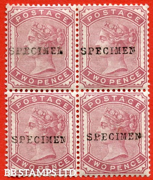 SG. 168. K5 1 (t). 2d pale rose. A very fine UNMOUNTED MINT block of 4 overprinted with SPECIMEN type 9.