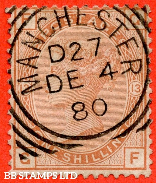 "SG. 151. J115. "" GF "". 1/- orange brown.. Plate 13. A superb upright "" December 4th 1880 MANCHESTER "" CDS used example."