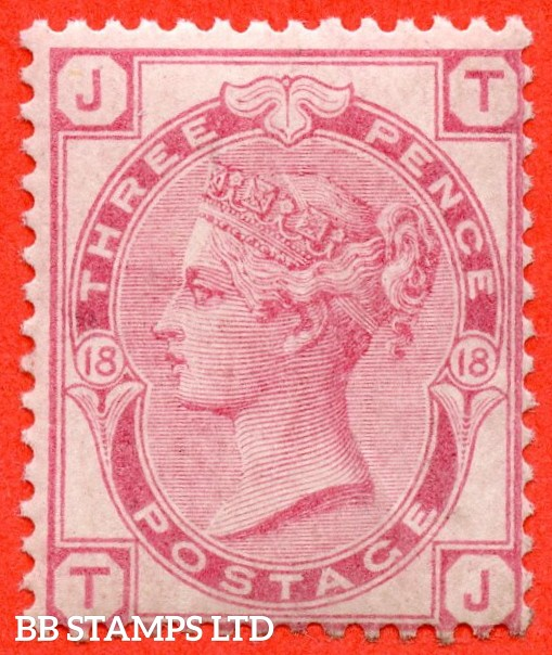 """SG. 144. J42. """" TJ"""". 3d pale rose plate 18. A fine UNMOUNTED MINT example."""