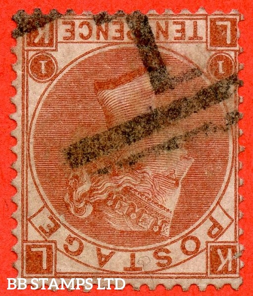 """SG. 112 wi. J97 (1) e. """" LK """". 10d red brown. Plate 1. INVERTED WATERMARK. A fine used example of this scarce watermark variety."""