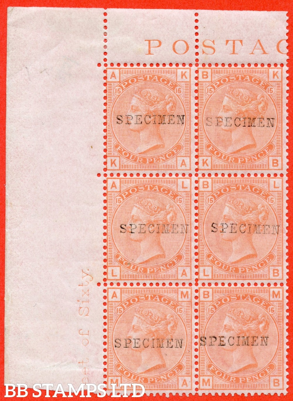 "SG. 152 s. J62 t. "" KA KB LA LB MA MB "". 4d vermilion plate 15. A superb UNMOUNTED MINT top left hand corner marginal inscriptional block of 6 overprinted SPECIMEN type 9."
