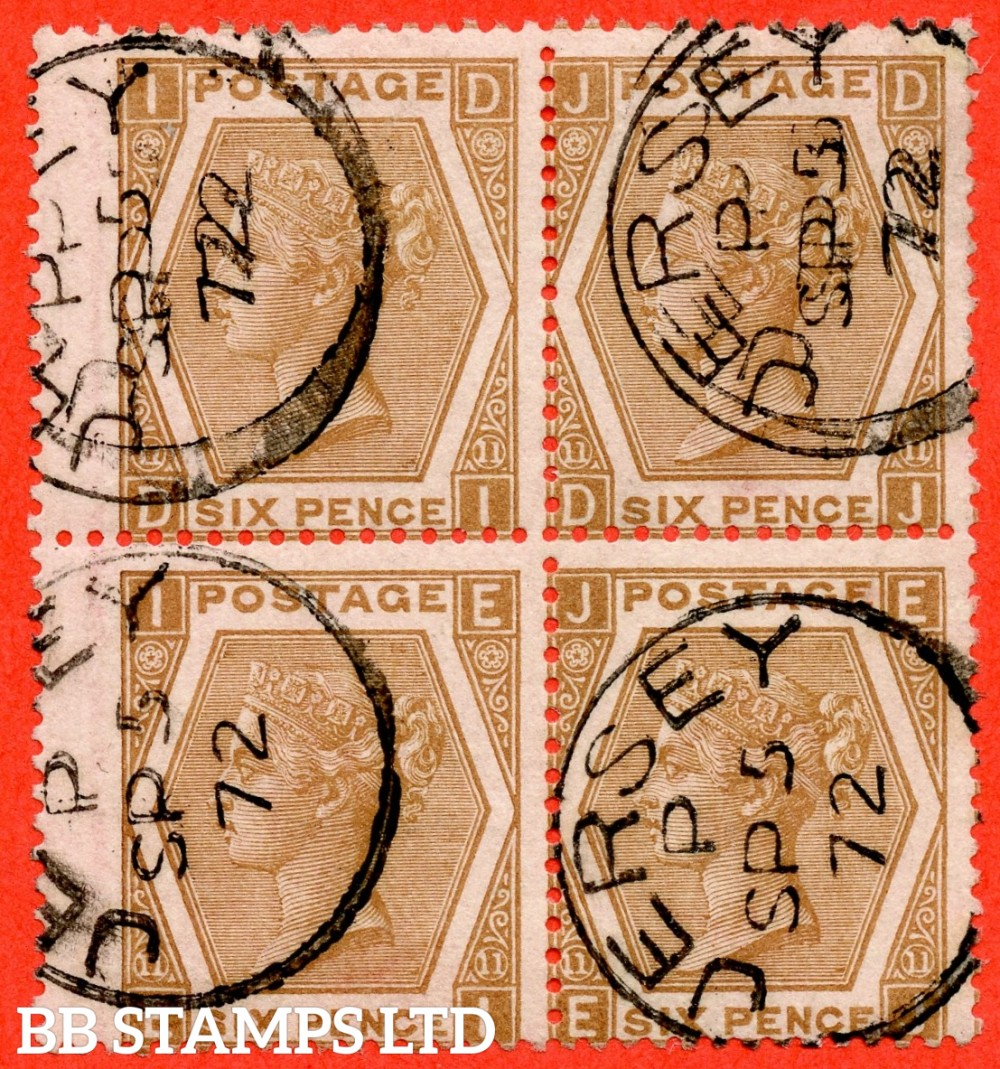 """SG. 122a. J79 (3). """" DI DJ EI EJ """". 6d chestnut. Plate 11 ( eleven ). A very fine """" 5th September 1872 JERSEY """" CDS used block of 4."""