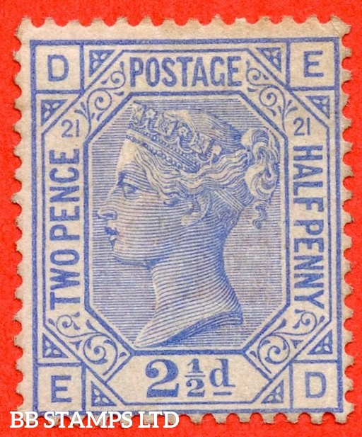 """SG. 157. J23. """" ED """". 2½d blue. Plate 21. A fine mounted mint example."""