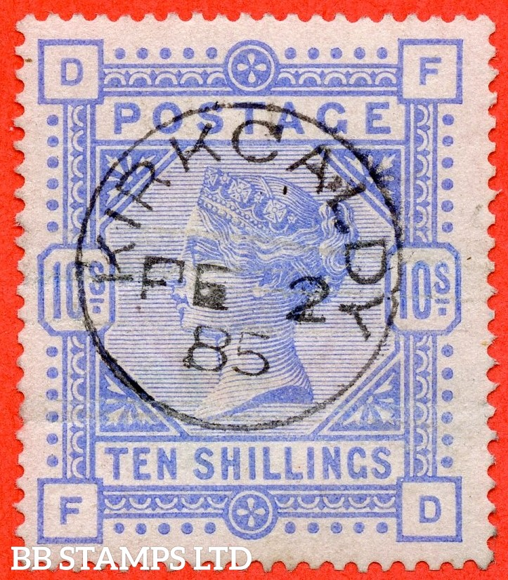 """SG. 182. K14 (1). """" FD """". 10/- Cobalt. A SUPERB """" 2nd February 1885 KIRKCALDY """" CDS used example with a light horizontal crease. A superior spacefiller."""
