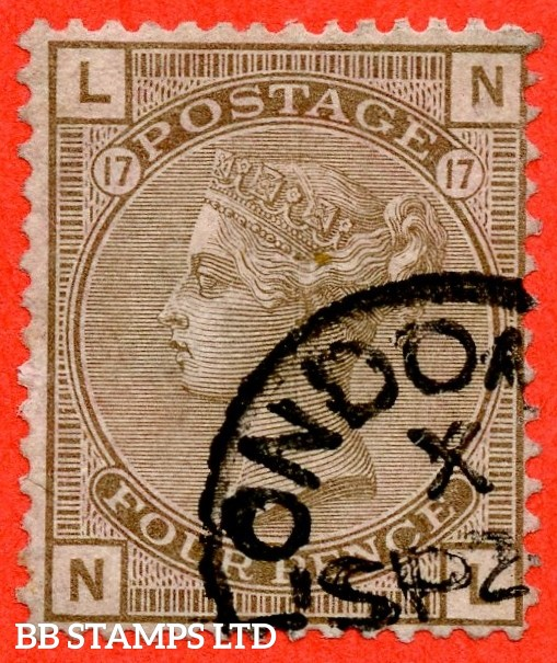 "SG. 154. J67. "" NL "". 4d grey brown. Plate 17. A superb "" September LONDON "" CDS used example with a super clear profile."