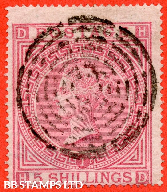 "SG. 126. J121 (1). "" HD "". 5/- Rose. Plate 1. A fine used example cancelled by a fine "" CONCENTRIC RING "" CDS."