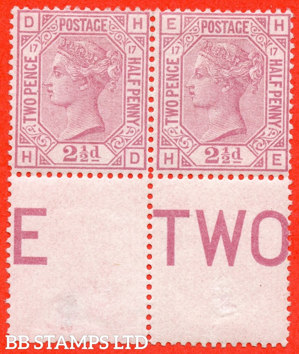 "SG. 141. J18. "" HD HE "". 2½d rosy mauve. Plate 17. A superb UNMOUNTED MINT bottom marginal horizontal pair."