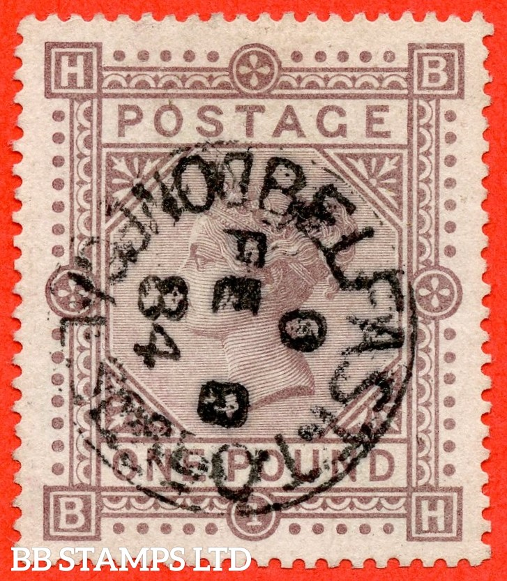 "SG. 136. "" BH "". £1.00 Brown - lilac. A SUPERB used example cancelled by a very fine "" BELFAST "" CDS. Perfectly centred with excellent perfs."