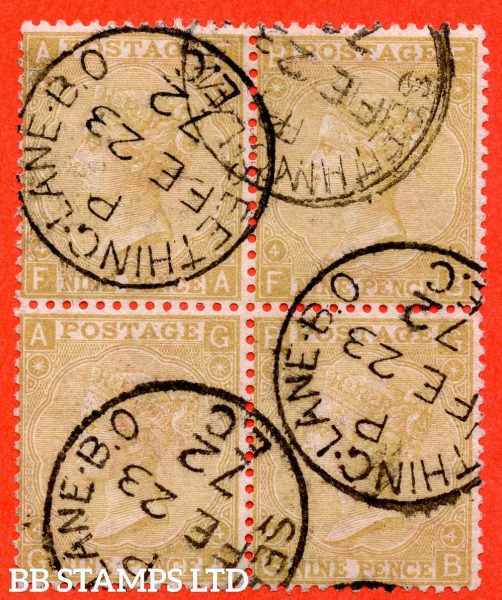 "SG. 110. J96 (1). "" FA FB GA GB "". 9d Straw. Plate 4. A fine "" 23rd February 1872 SEETHING LANE "" CDS used block of 4. A very scarce multiple."