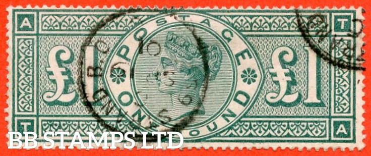 "SG. 212 a. K17 a. £1.00 Green "" TA "". FRAME BREAK. Plate 2. A fine "" September 19th 1901 STRAND "" CDS used example of this RARE Victorian variety. Excellent colour and perfs."