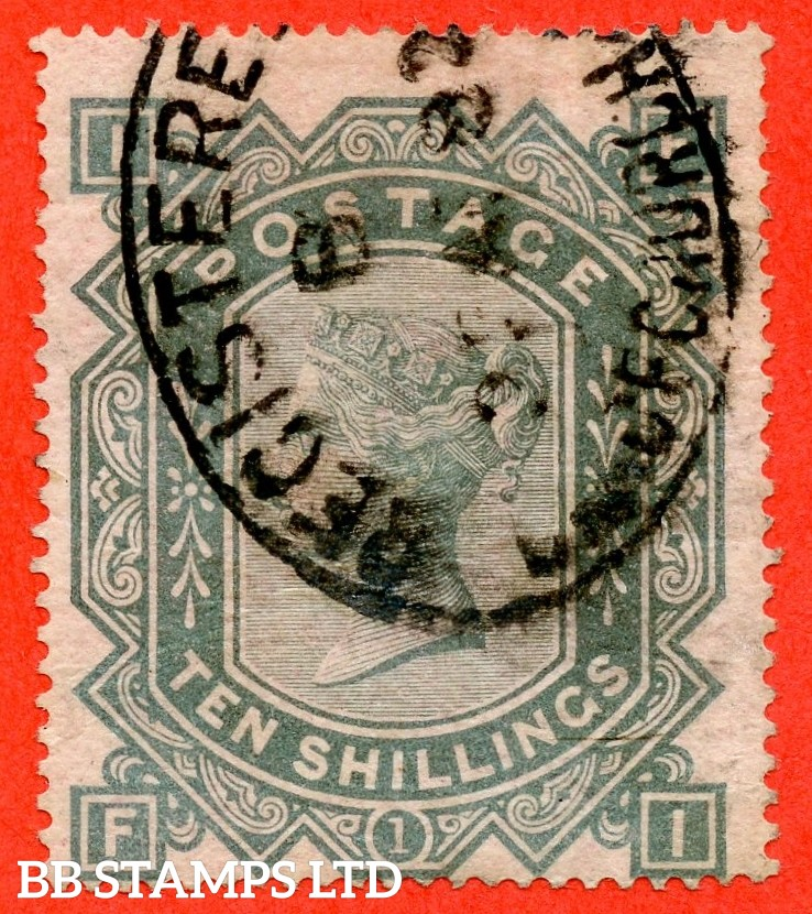 """SG. 128. """" FI """". 10/- Greenish grey. A good - fine used example of this early Victorian high value."""