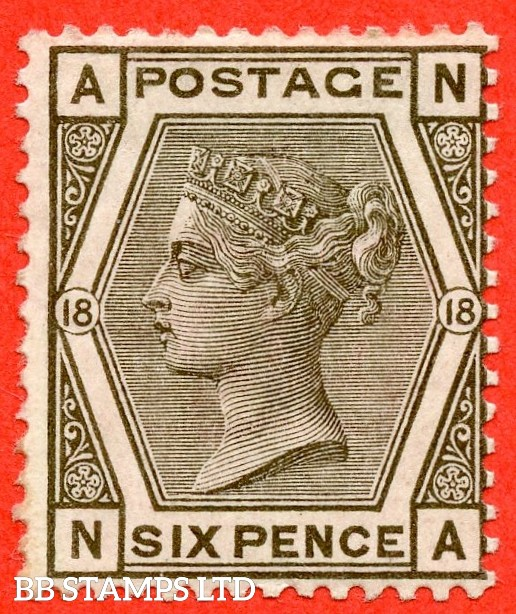 "SG. 161. J89. "" NA "". 6d grey. Plate 18. A fine mounted mint example."